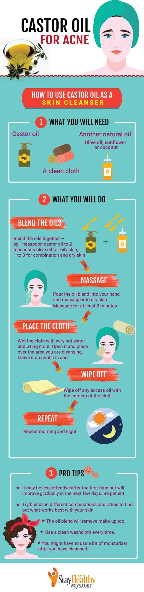 castor oil for acne infographic